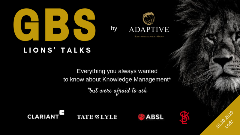 photo Have a knowledge feast with Adaptive! Invitation to GBS Lions Talks in Lodz (10.10.2019)