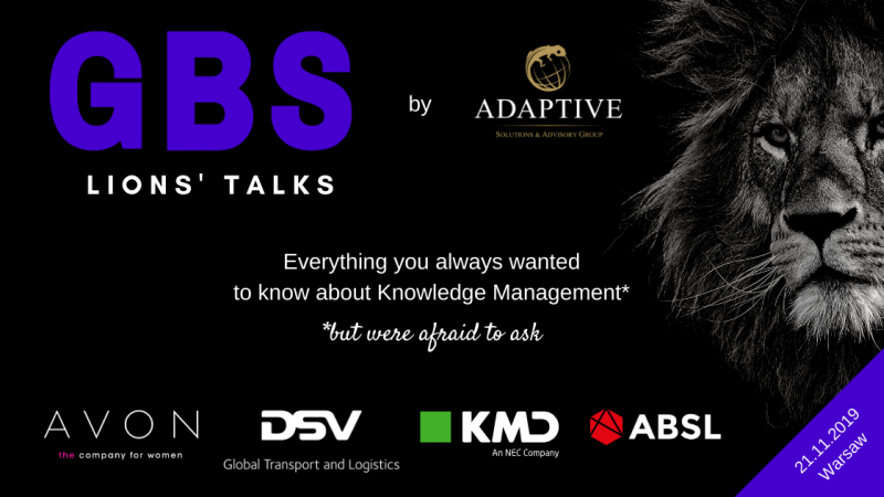photo Have a knowledge feast with Adaptive! Invitation to GBS Lions Talks in Warsaw (21.11.2019)