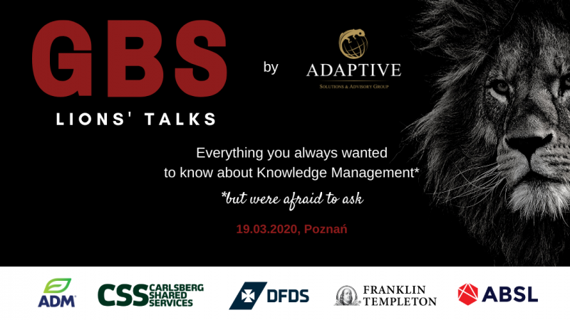 photo Have a knowledge feast with Adaptive! Invitation to GBS Lions Talks in Poznań (19.03.2020)